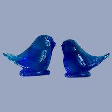 Ozark Bluebirds of Happiness Blown Glass Signed Bird Figurines