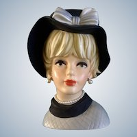 "Napco Lady Head Vase #C7497 Huge 9-1/2"" Tall Vintage Napcoware Figurine"