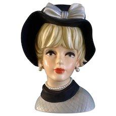 """Napco Lady Head Vase #C7497 Huge 9-1/2"""" Tall Vintage Napcoware Figurine"""