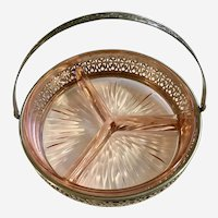 Pink Depression Glass Divided Relish Tray in Metal Caddy Basket