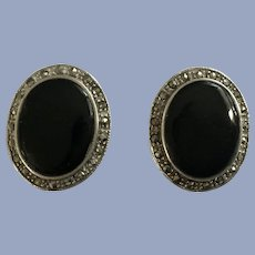 Vintage Black Onyx, Marcasites and 925 Sterling Silver Earrings Clip-On