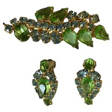 Matching Set of Crystal Earrings and Brooch Pin Green and Blue