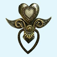 Steampunk Heart Locket Brooch Pin