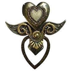 Steampunk Heart Locket Brooch Pin