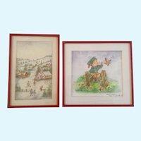 Clara K Adams, Watercolor Painting Folk Art Village Signed by Artist Set