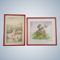 Clara K Adams, Watercolor Painting Folk Art Village Signed by Artist Set