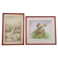 Clara K Adams, Watercolor Paintings, Folk Art Village and Little Boy on Fence, Signed by Artist 2 Piece Set