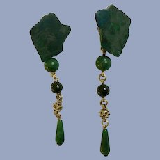 Stephen Dweck Natural Green Stone Earrings with 1/20 14K Gold OOAK