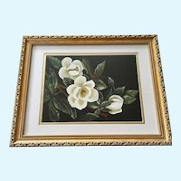 Magnolia Flowers on Branch Floral Oil Painting