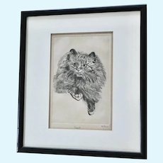 Helen Forman, Kitty Cat Coquette Etching Signed by Listed Artist