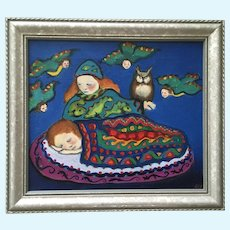 Laura Marshall, Surreal Bird Angels Watching Over Sleeping Baby Oil Painting