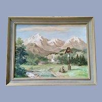 Horst Lorenz, European Alps Crucifix Oil Painting