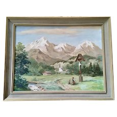 Horst Lorenz, European Alps Crucifix Oil Painting