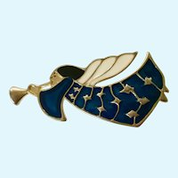 Blue Sparkle Christmas Gold-tone Angel Flying Brooch Pin