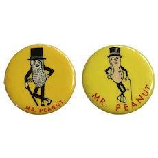 Vintage Planters Mr. Peanut Pin Back Metal Buttons Advertising