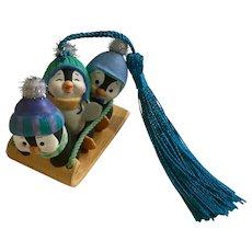Hallmark Penguins Sledding Christmas Ornament 2001