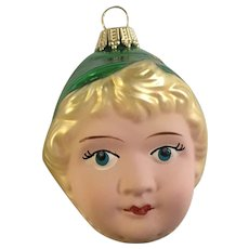 Kurt S. Adler Christmas Girl Green Hat Ornament Blown Glass Germany