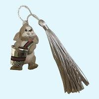 Hallmark Bunny Rabbit Holding Thimble Christmas Ornament 1987