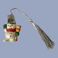 Hallmark Snowman with Thimble Hat Christmas Ornament 1988