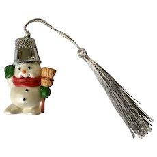 Hallmark Snowman with Thimble Hat Christmas Ornament 1988