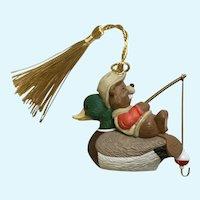 Hallmark Bear Fishing on Duck Christmas Ornament 1995