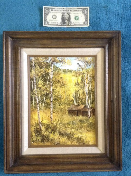 Ladin Stey, Oil Painting on Board, Old House in Aspen Forest, Signed ...