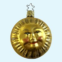 Yellow Sun Christmas Ornament Inge Glas Old World Blown Glass Germany