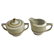 Fuji China Laurel Cream and Sugar Pottery