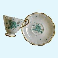 Royal Standard Enamel Dots Cup & Saucer Blue Rose Bone China England