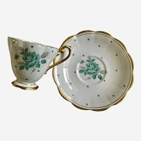 Royal Standard Enamel Dots Cup & Saucer Blue Rose Bone China England