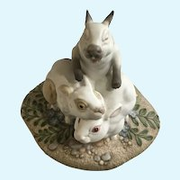 Funny Netherlands Bunny Rabbits Figurine Kazmar Artist Signed