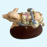 Lenox Carousel Blue Ribbon Pig Figurine