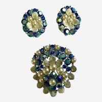 Rainbow Blue Rhinestone & Faux Pearl Cluster Pin & Clip Earrings