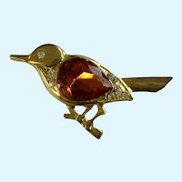Gold-tone Orange Rhinestone Bird Pin Brooch
