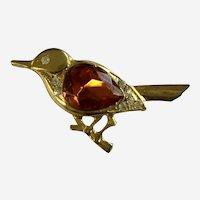 Gold-tone Orange Rhinestone Bird Pin Brooch