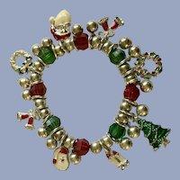 Christmas Silver-tone Charm Santa Wreath Bracelet