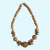 Polished Wood and Silver-tone Beaded Necklace