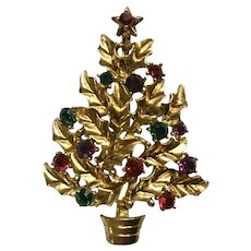 Eisenberg Ice Gold-tone Christmas Tree Rhinestone Brooch Pin