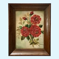 M Montag, Red Roses Still Life Oil Painting