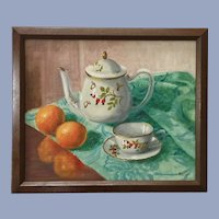 Rappi, Teapot and Tea Cup Oil Painting Table Still Life