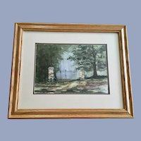 Dwana, Rod Iron Gate in the Woods Watercolor Painting
