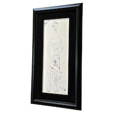 Sadel, The Fisherman Sketch Artist Pen and Ink Mid-Century Modern