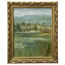 Impressionist Landscape Oil Painting House Across Lake