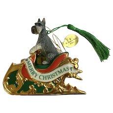 Miniature Schnauzer Dog Santa Sleigh Christmas Tree Ornament The Danbury Mint