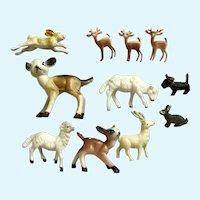 Mid-Century Miniature Animals Early Plastics Dollhouse Diorama Group