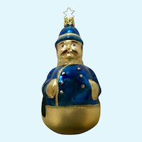 Police Bobby Christmas Ornament Inge Glas Old World Blown Glass Germany