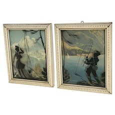 Convex Glass Silhouettes Fishing and Camping Reverse Painting Pictures