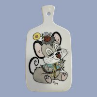 Mid-Century Anthropomorphic Mouse Cheese Paddle Hot Pad
