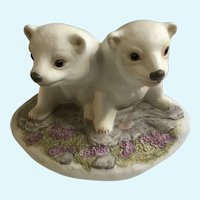Polar Bear Cubs Figurine William (Bill) Joseph Kazmar Artist Signed