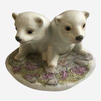 Polar Bear Cubs Figurine William (Bill) Joseph Kazmar Artist Signed